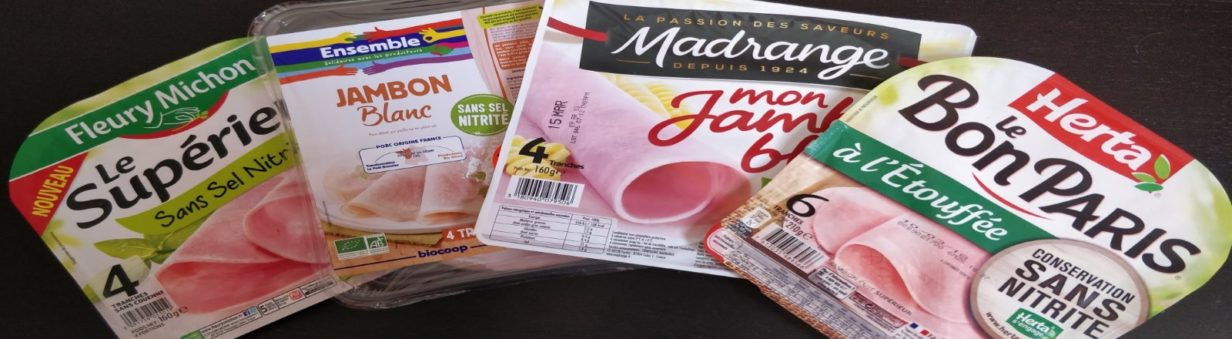 4 marques de jambon sans nitrites : Fleury Michon, Biocoop, Madrange, Herta