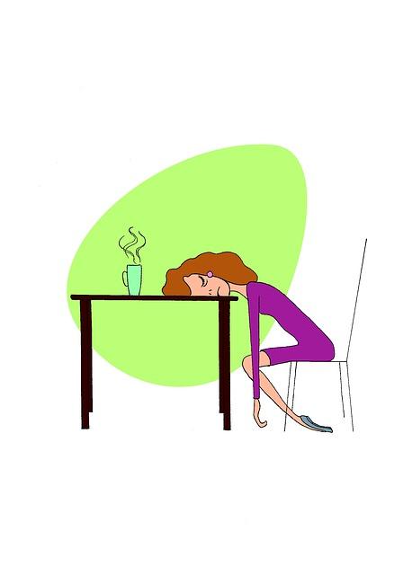 dessin femme épuisée sur sa table illustration de la fatigue