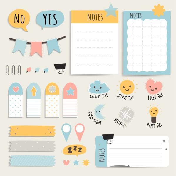 illustration kit papeterie d'organisation